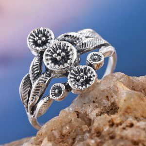 NEW Genuine Sterling Silver Floral Ring (Size 8.0)